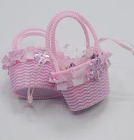 Wholesale baby headband lovely box packing Flower basket Rainbow rubber headband girls gift
