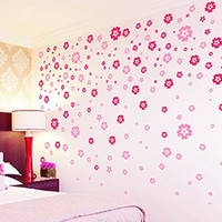 Wholesale sitting room the bedroom the head of a bed TV setting wall stickers Romantic house full of flowers JE9