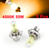 Wholesale 2 DC V W Yellow H4 Halogen Headlight Fog Light Bulb for Auto Car