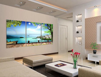 Cheap Wholesale-2015 New 3 Panel Modern Painting Home Sea View Decorative Art Picture Paint on Canvas Prints picture The lake charming scenery
