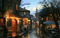 art church - Eugeny Lushpin Oil painting Art printing on the canvas Home wall decoration The scenery Magic evening Church NO