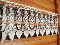Wholesale cm Hook needle semi shade rustic flower head curtain small door curtain crochet kitchen curtain burnout lace curtain