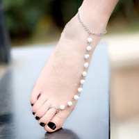 Wholesale Sexy Sparking Barefoot Jewelry Women White Pearls Bead Pendant Anklet Bracelet Beach Foot Chain Bridal Slipper Toe Anklets J0048
