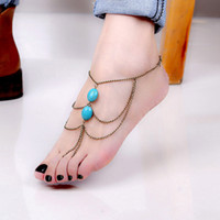 brass chain - ALL Match Chic Ankle Foot Chain Handmade Toe Link Rings Harness Turquoise Bracelet Lover Tassel Slave Anklets Antique brass Blue J0050