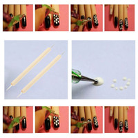 nails for wood - Manicure Decoration Dual Ball Double Point Wood Handle Pencil Nail art Tool Nail Art Design Dotting Pen for Painting H14671