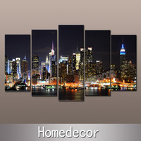Cheap Wholesale-5pcs set large USA New York City Buildings at Night art canvas picture printing modern wall canvas painting Home Decoration