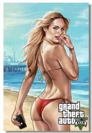 Wholesale Grand Theft Auto V Game Wall Silk Poster x32 x24 x12 inch Big Promote Prints Boy Room GTA GTA5 Girl Box Art