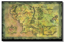 Wholesale Map Of Middle Earth The Lord Of The Rings Silk Wall Poster36x24 x20 x12 inch Prints Fans Collect
