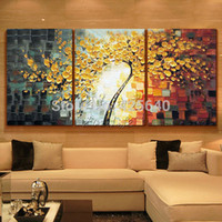 Wholesale Oil Painting Panel Piece Canvas Wall Art Picture Modern Abstract Home Decor Living Room Set Hand Painted Palette Knife Tree
