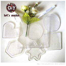 Wholesale mm Perler Beads Hama Beads Fused Beads Clear Linkable Large Peg board board iron papers tweezers