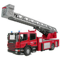 Cheap Wholesale-Hot selling metal fire truck model 1:32 alloy larger diecast firetruck with ladder toy jackknifed toy for children Free Shipping