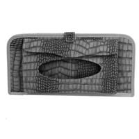 Wholesale Crocodile Pattern Faux Leather Folio Car Sun Visor Tissue CD Holder Gray