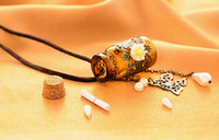 Cheap European Classic Style Vintage Brown Little Wishing Bottle Wooden Cork Exquisite Butterfly Carving Women Necklace Accessories