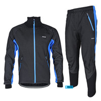 warm up jackets - ARSUXEO Winter Warm Up Thermal Cycling Bike Bicycle Jacket Pant Uniform Bib Pad Windproof Waterproof A