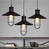 Wholesale rustic pendant lights vintage style pendant lamps rounded metal lamp shade Kichler pendant lighting Linear Suspension Lighting black color