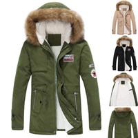 Envío Gratis 2015 algodón de los hombres de invierno de la chaqueta de estilo militar gruesa capa exterior Casual caliente para los amantes más tamaño: S ~ 4XL A72