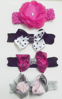 Wholesale Flower and Bow Baby children Headbands Girls ribbon Hairband Infant Knitting Hair New Style Mix packing