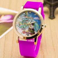 Wholesale Christmas Gifts Hot New Fashion Watch Christmas tree Santa Claus Cartoon Watch Quartz Silicone Watch Boys Girls Wristwatch