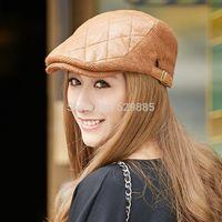 Wholesale Charming Women warm hat cap leather flat cap casual cap grid belt elastic hat