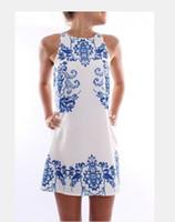 Wholesale hot sale women dress femme vestido summer new fashion elegant dress sleeveless dress retro print dress