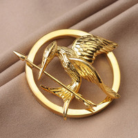 Wholesale Hunger Games Sterling Silver Pin Brooch Metal New High Quality Catching Fire Bird Pure Silver Brooch K Gold Plated