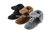 designer sheepskin boots - Fashion Brand Designer Sheepskin Fur Winter Gray Short Boots Shoes For Women Snow Boots Sneakers Black