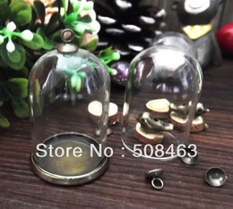 Wholesale Free ship NEW sets mm glass globe amp setting base amp cap set glass cover DIY Glass vial jewelry glass