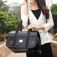 Wholesale HOT Selling Black Leather Pet Carrier Dog Carrier shoulder Bag for Cat