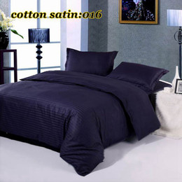 Wholesale cotton satin dark blue plain solid color hotel duvet cover set Luxury bedding set include Quilt cover pillowcases