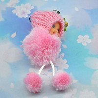 Cheap Wholesale-FreeShipping Christmas Gift Cheap Mini Plush Toy Pretty Girl Cell Phone Strap key chains Style 50Piece