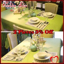 Wholesale Top Canvas Cotton Green Table Cloth Tablecloth Coffee Table Cloth Long Design Short Design FS HO A001
