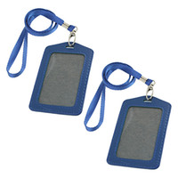 Wholesale Blue Faux Leather Badge ID Card Vertical Holders w Neck Strap