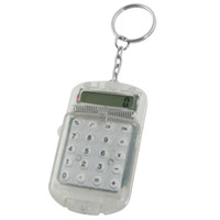 Wholesale Clear Plastic Casing Digits Electronic Mini Calculator w Keychain