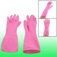 Wholesale 2 Psc Household Antislip Rose Pink Clean Wash Latex Gloves