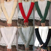 Wholesale Women s Fashion Cotton UV Protection Arm Warmer Long Fingerless Gloves Sleeves QZQ