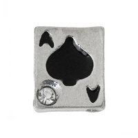 Cheap Floating Charms For Glass Memory Locket Pendants Poker Card Ace Silver Tone Enamel Black Rhinestone 7mmx6mm,20PCs 8seasons