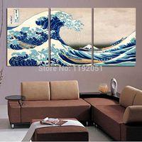Оптовая пейзаж холст картины пейзажи картины в японском стиле Фудзи Вид на горы Большая волна Off Канагава от Кацусика Хокусай