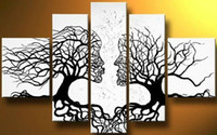 black art - handpainted piece black white modern abstract oil paintings canvas wall art tree of life pictures for home decoration F