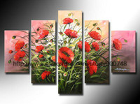 african american art - Flowers Painting Red Poppies Pink Background African American Art Large Wall Art High Quality Gifts Oil Paintings On Canvas