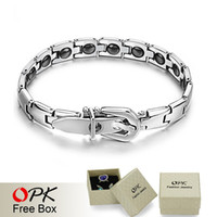 Wholesale OPK JEWELRY BRACELET Healing Stainless Steel Magnetic Bracelet Mosaic of natural bio magnetic Care bracelet GS977