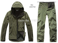 hunting clothes - Man New Camping Outdoor Jacket Pant Army Softshell Trousers Hiking Male Waterproof Military Tactical Hunting Clothing