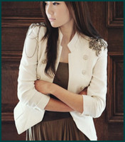 adorn cottons - New Coming Hot sale cool Napoleon military style jacket epaulets adorn suit blazer white chic suit SH