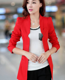 Wholesale-New Womens Blazers Solid Slim Ladies Blazer Single Button Women Suits Five Colors Red   Black Blazers