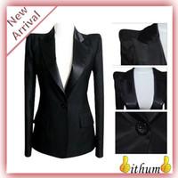 Cheap Wholesale-New 2015 women blazer slim all-match black blazers women clothing plus size blazer women business suits XXXXL