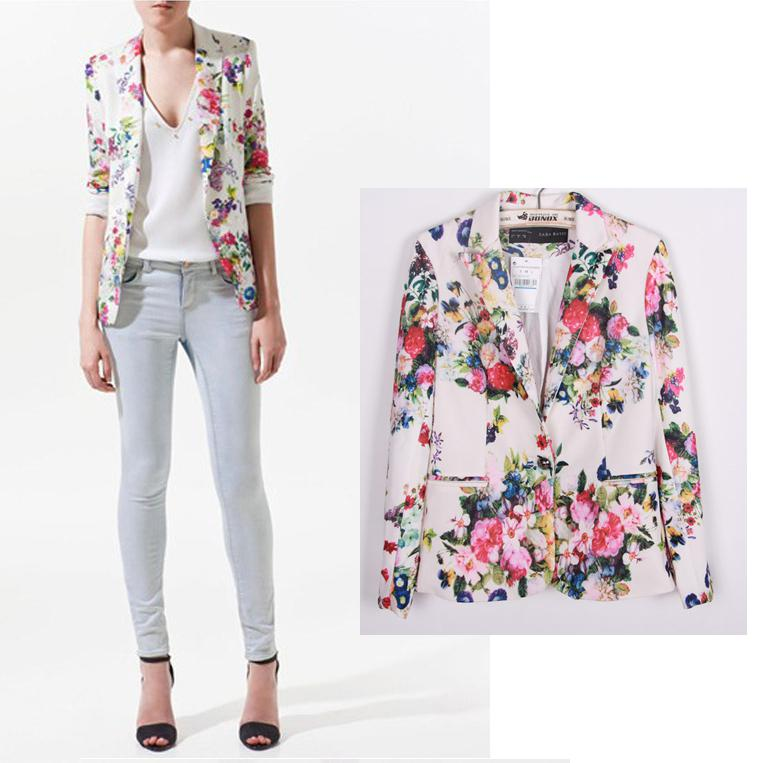 2017 Wholesale New 2015 Fashion Blazer Women Floral Print Blazer ...