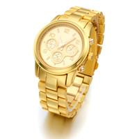 Cheap Wholesale-Hot selling Brand Gold Plated Stainless Steel fashion man women ladies Janpan Quartz Movement Wrist Watch Clock Reloj Dropship