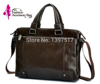 crazy horse leather - New Men Brown Crazy Horse Leather Portfolio Laptop Bag Male Luxury Leather Briefcase Messenger Shoulder Handbag Briefcase