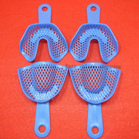 autoclavable tray - Pairs Middle Size Blue Dental Plastic Steel Impression Trays Autoclavable Denture Lab Instrument