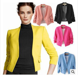 Wholesale Female money fold nine points hubble bubble sleeve small business suit sleeve without a small suit jacket without collar