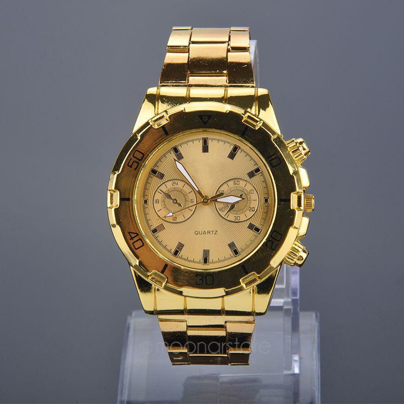 Золотой серебряные часы мода мужские часы полный золото серебро из нержавеющей стали кварцевые часы наручные часы